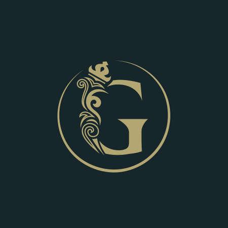王冠が付いたエレガントな文字G。優雅な王室のスタイル。カリグラフィック美しい丸いロゴ。本のデザイン、ブランド名、名刺、レストラン、ブティック、ホテルのためのヴィンテージ描かれたエンブレム。ベクトルの図