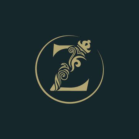 王冠が付くエレガントな文字Z。優雅な王室のスタイル。カリグラフィック美しい丸いロゴ。本のデザイン、ブランド名、名刺、レストラン、ブティック、ホテルのためのヴィンテージ描かれたエンブレム。ベクトルの図