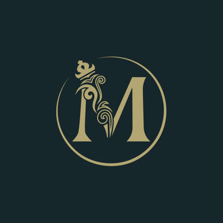 Elegant letter M with crown. Graceful royal style. Calligraphic beautiful round logo. Vintage drawn emblem for book design, brand name, business card, Restaurant, Boutique, Hotel. Vector illustration
