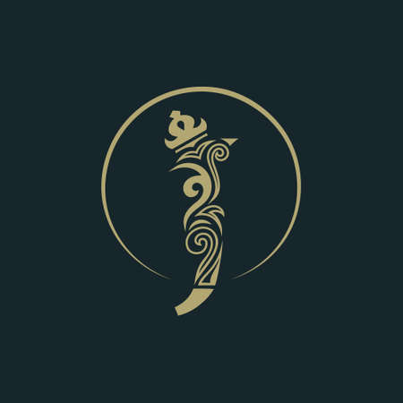 Elegant letter J with crown. Graceful royal style. Calligraphic beautiful round logo. Vintage drawn emblem for book design, brand name, business card, Restaurant, Boutique, Hotel. Vector illustration