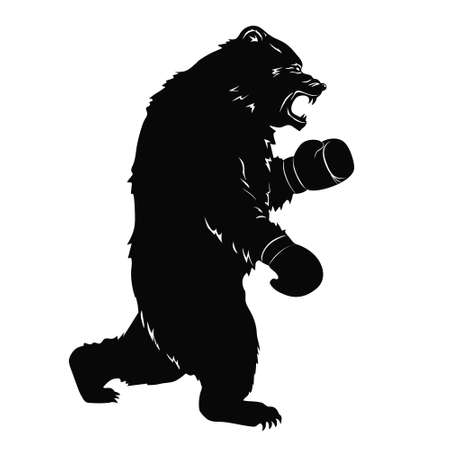Black bear in Boxing gloves. Silhouette of a wild animal for sport event. Art design for sport event. Vector illustration Ilustrace