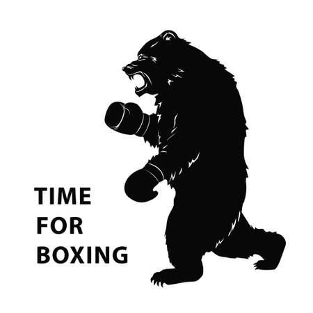 Black bear in Boxing gloves. Silhouette of a wild animal for sport event. Art design for sport event. Vector illustration Illustration