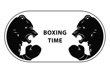 Two black bears fighting. Silhouettes of a wild animals in Boxing gloves. Emblem of snarling beasts for sport event. Art design. Vector illustration