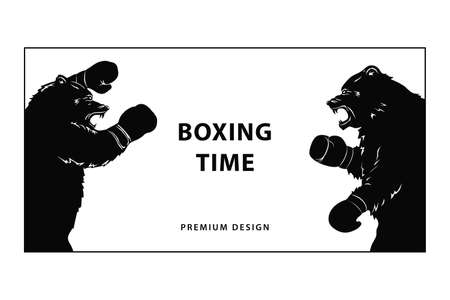 Two black bears in Boxing gloves. Silhouette of a snarling beasts. Wild animals going to fight. Art design for sport event. Vector illustration