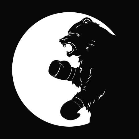 Black bear in Boxing gloves. Silhouette of a wild animal. Emblem of snarling beast. Art design for sport event. Vector illustration Illustration