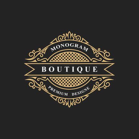 Elementi di design del monogramma, modello grazioso. Calligrafico elegante linea art design. Segno dell'emblema per royalty, biglietto da visita, boutique, hotel, ristorante, vino. Cornice per etichetta. Illustrazione vettoriale