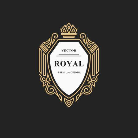 Monogram design elements, graceful template. Calligraphic elegant line art design. Emblem sign for Royalty, business card, Boutique, Hotel, Restaurant, wine. Frame for label. Vector illustration