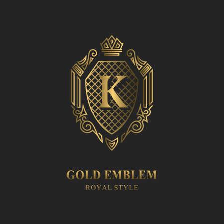 Royal monogram design. Luxury volumetric logo template. 3d line ornament. Emblem with letter K for Business sign, badge, crest, label, Boutique brand, Hotel, Restaurant, Heraldic. Vector illustration