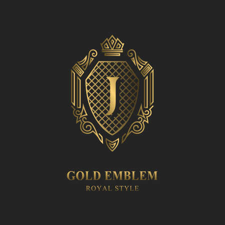 Royal monogram design. Luxury volumetric logo template. 3d line ornament. Emblem with letter J for Business sign, badge, crest, label, Boutique brand, Hotel, Restaurant, Heraldic. Vector illustration