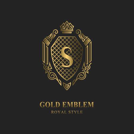 Royal monogram design. Luxury volumetric logo template. 3d line ornament. Emblem with letter S for Business sign, badge, crest, label, Boutique brand, Hotel, Restaurant, Heraldic. Vector illustration