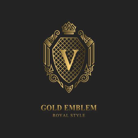 Royal monogram design. Luxury volumetric logo template. 3d line ornament. Emblem with letter V for Business sign, badge, crest, label, Boutique brand, Hotel, Restaurant, Heraldic. Vector illustration