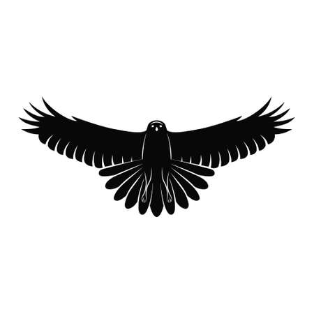 Flying Falcon. Elegant logo template. Silhouette of a wild bird with spread wings isolated on white. Retro style. Black graphic emblem. Vector illustration