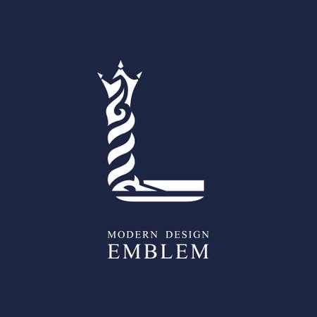 Lettera maiuscola L. Grazioso stile regale. Design artistico minimale. Elegante con elementi ondulati. Emblema disegnato per azienda di marca, biglietto da visita, ristorante, boutique, hotel, sport. Illustrazione vettoriale