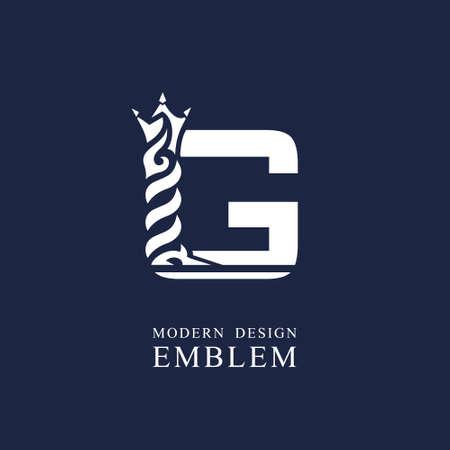 Capital letter G. Graceful royal style. Minimal art design. Elegant with wavy elements. Drawn emblem for brand name company, business card, Restaurant, Boutique, Hotel, Sport. Vector illustration