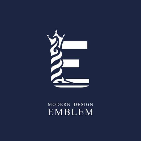 Capital letter E. Graceful royal style. Minimal art design. Elegant  with wavy elements. Drawn emblem for brand name company, business card, Restaurant, Boutique, Hotel, Sport. Vector illustration Vettoriali