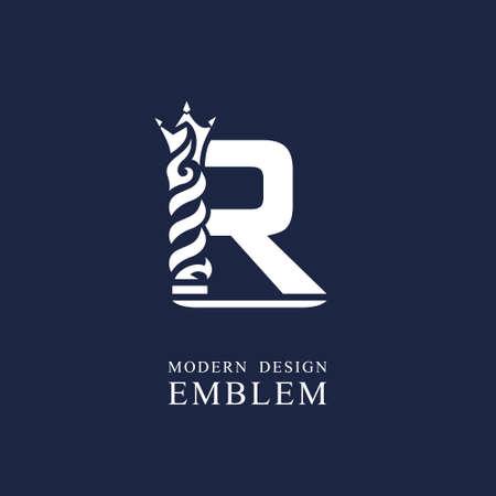 Capital letter R. Graceful royal style. Minimal art design. Elegant  with wavy elements. Drawn emblem for brand name company, business card, Restaurant, Boutique, Hotel, Sport. Vector illustration Vettoriali