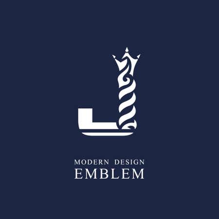 Capital letter J. Graceful royal style. Minimal art design. Elegant  with wavy elements. Drawn emblem for brand name company, business card, Restaurant, Boutique, Hotel, Sport. Vector illustration
