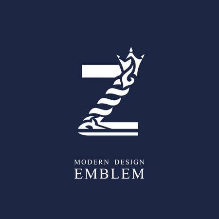 Capital letter Z. Graceful royal style. Minimal art design. Elegant  with wavy elements. Drawn emblem for brand name company, business card, Restaurant, Boutique, Hotel, Sport. Vector illustration