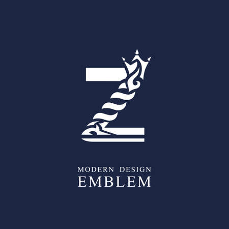 Capital letter Z. Graceful royal style. Minimal art design. Elegant  with wavy elements. Drawn emblem for brand name company, business card, Restaurant, Boutique, Hotel, Sport. Vector illustration