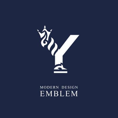 Capital letter Y. Graceful royal style. Minimal art design. Elegant logo with wavy elements. Drawn emblem for brand name company, business card, Restaurant, Boutique, Hotel, Sport. Vector illustration