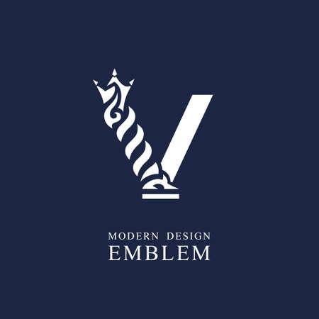 Capital letter V. Graceful royal style. Minimal art design. Elegant logo with wavy elements. Drawn emblem for brand name company, business card, Restaurant, Boutique, Hotel, Sport. Vector illustration Vettoriali