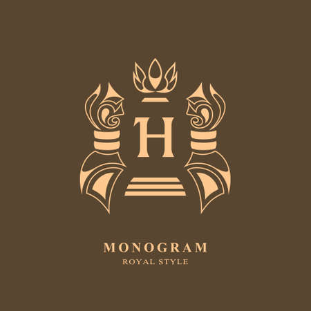 Monogram design elements, graceful template. Calligraphic elegant line art logo design. Letter emblem H sign for Royalty, business card, Boutique, Hotel, Restaurant, wine. Frame. Vector illustration