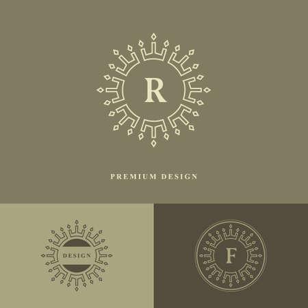 Monogram design elements, graceful template. Calligraphic elegant line art logo design. Letter emblem R, F sign for Royalty, business card, Boutique, Hotel, Restaurant, wine. Frame Vector illustration Illustration