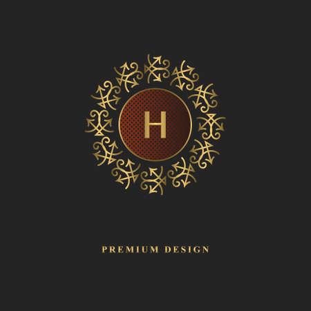 Gold monogram design. Luxury volumetric logo template. 3d line ornament. Emblem with letter H for Business sign, badge, crest, label, Boutique brand, Hotel, Restaurant, Heraldic. Vector illustration