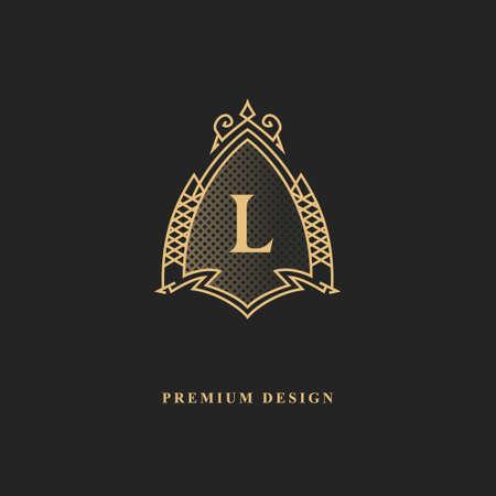 Royal monogram design. Luxury volumetric logo template. 3d line ornament. Emblem with letter L for Business sign, badge, crest, label, Boutique brand, Hotel, Restaurant, Heraldic. Vector illustration