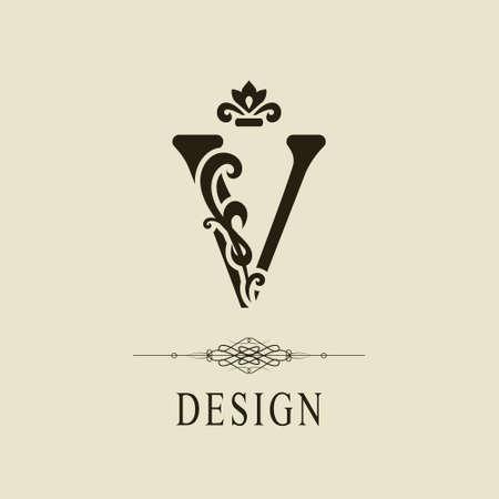 Elegant Capital letter V. Graceful royal style. Calligraphic beautiful logo. Vintage floral drawn emblem for book design, brand name, business card, Restaurant, Boutique, Hotel. Vector illustration Vettoriali