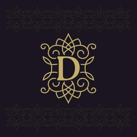 Capital letter D. Beautiful monogram. Elegant logo. Calligraphic design. Luxury emblem. Vintage ornament. Simple graphics style. Flourishes boutique brand on black background. Vector illustration Stok Fotoğraf - 119839009