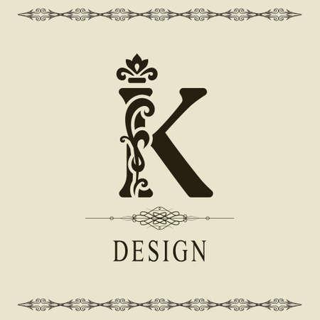 Elegant Capital letter K. Graceful royal style. Calligraphic beautiful logo. Vintage floral drawn emblem for book design, brand name, business card, Restaurant, Boutique, Hotel. Vector illustration