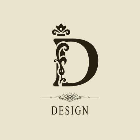 Elegant Capital letter D. Graceful royal style. Calligraphic beautiful logo. Vintage floral drawn emblem for book design, brand name, business card, Restaurant, Boutique, Hotel. Vector illustration