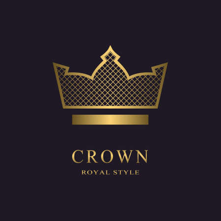 Golden liner monogram. Crown Logotype. Sign of king. Elegant design. Simple template. Creative emblem for Royalty, business card, company name logo, Hotel, Restaurant. Web icon. Vector illustration