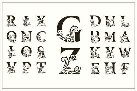 Set di lettere maiuscole floreali. Loghi d'epoca. Monogrammi in filigrana. Bella Collezione. Alfabeto inglese. Emblemi Disegnati Semplici. Stile grazioso. Progettazione di insegne calligrafiche. illustrazione vettoriale