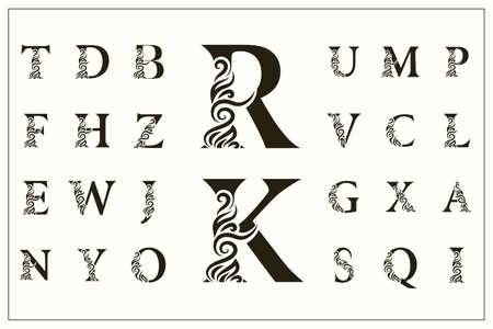 Conjunto de letras mayúsculas con estilo. Logotipos vintage. Monogramas de filigrana. Hermosa colección. Alfabeto inglés. Emblemas dibujados simples. Estilo elegante. Diseño de Insignias Caligráficas. Ilustración vectorial