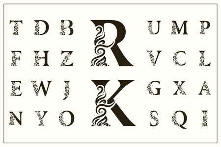 Set di lettere maiuscole alla moda. Loghi d'epoca. Monogrammi in filigrana. Bella Collezione. Alfabeto inglese. Emblemi Disegnati Semplici. Stile grazioso. Progettazione di insegne calligrafiche. illustrazione vettoriale