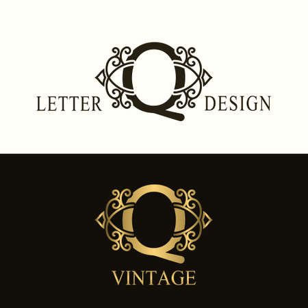 Stylish Capital letter Q. Vintage Logo. Filigree Beautiful Monogram. Luxury Drawn Emblem. Graceful Style. Black and Gold. Graphic Ornament. Simple Design of Calligraphic Insignia. Vector Illustration