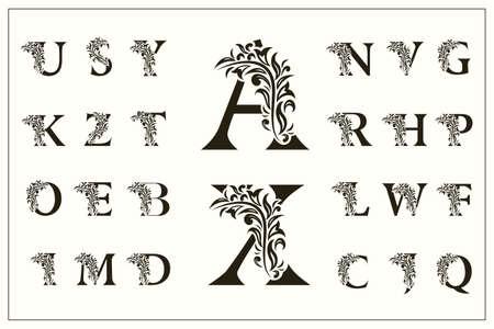 Conjunto de mayúsculas florales. Logotipos vintage. Monogramas de filigrana. Hermosa colección. Alfabeto inglés. Emblemas dibujados simples. Estilo elegante. Diseño de Insignias Caligráficas. Ilustración vectorial