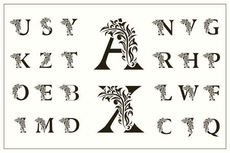 Set of Floral Capital Letters. Vintage Logos. Filigree Monograms. Beautiful Collection. English Alphabet. Simple Drawn Emblems. Graceful Style. Design of Calligraphic Insignia. Vector Illustration Illustration