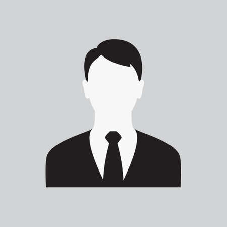 User Men Icon. Guys Profile. Man in Business Suit with a Tie. Male Web Sign, Flat art Object. Black and White Silhouette of Boy. Avatar Picture App. Vector Illustration Ilustração