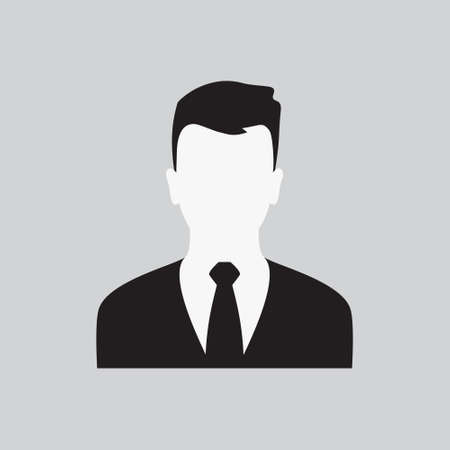 User Men Icon. Guys Profile. Stylish Young Man in Business Suit with a Tie. Male Web Sign, Flat art Object. Black and White Silhouette of Boy. Avatar Picture App. Vector Illustration