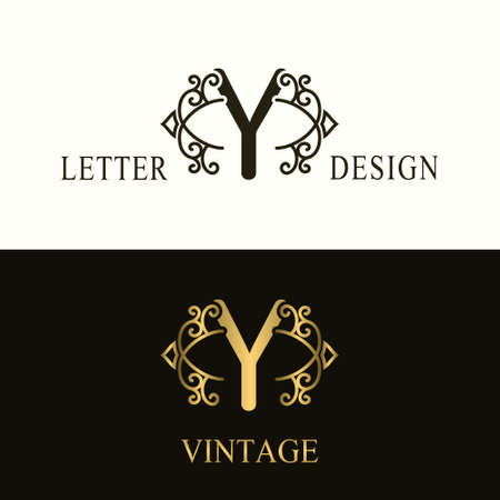 Stylish Capital letter Y. Vintage Logo. Filigree Beautiful Monogram. Luxury Drawn Emblem. Graceful Style. Black and Gold. Graphic Ornament. Simple Design of Calligraphic Insignia. Vector Illustration Vettoriali