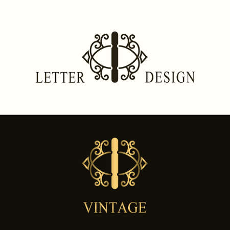 Stylish Capital letter I. Vintage Logo. Filigree Beautiful Monogram. Luxury Drawn Emblem. Graceful Style. Black and Gold. Graphic Ornament. Simple Design of Calligraphic Insignia. Vector Illustration Illustration