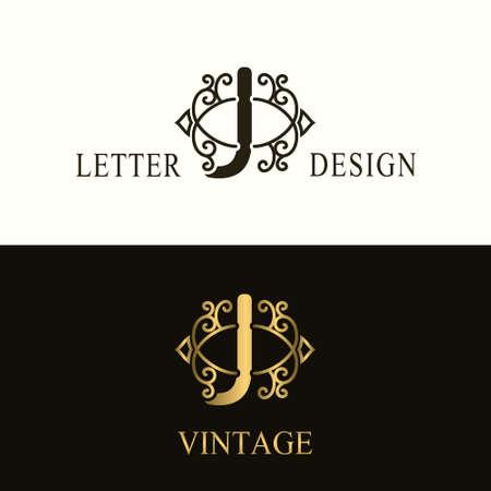 Stylish Capital letter J. Vintage Logo. Filigree Beautiful Monogram. Luxury Drawn Emblem. Graceful Style. Black and Gold. Graphic Ornament. Simple Design of Calligraphic Insignia. Vector Illustration
