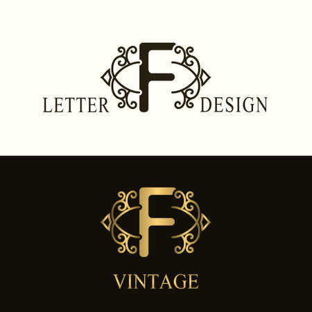 Stylish Capital letter F. Vintage Logo. Filigree Beautiful Monogram. Luxury Drawn Emblem. Graceful Style. Black and Gold. Graphic Ornament. Simple Design of Calligraphic Insignia. Vector Illustration