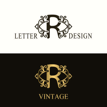 Stylish Capital letter R. Vintage Logo. Filigree Beautiful Monogram. Luxury Drawn Emblem. Graceful Style. Black and Gold. Graphic Ornament. Simple Design of Calligraphic Insignia. Vector Illustration Ilustração