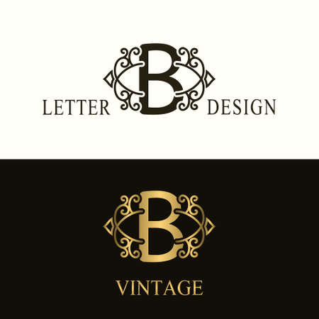 Stylish Capital letter B. Vintage Logo. Filigree Beautiful Monogram. Luxury Drawn Emblem. Graceful Style. Black and Gold. Graphic Ornament. Simple Design of Calligraphic Insignia. Vector Illustration