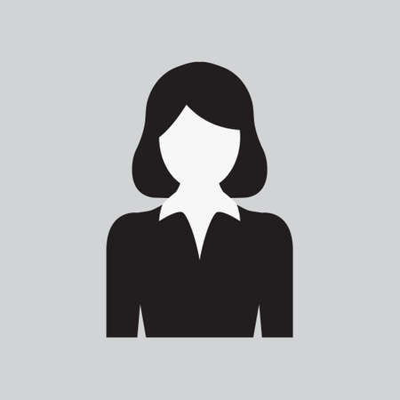 User Woman Icon. Lady's Profile. Female Web Sign, Flat art Object. Black and White Silhouette of Girl in Business Suit. Avatar Picture App. Vector illustration