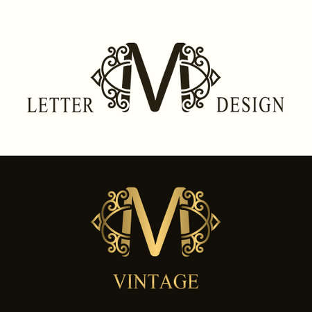 Stylish Capital letter M. Vintage Logo. Filigree Beautiful Monogram. Luxury Drawn Emblem. Graceful Style. Black and Gold. Graphic Ornament. Simple Design of Calligraphic Insignia. Vector Illustration